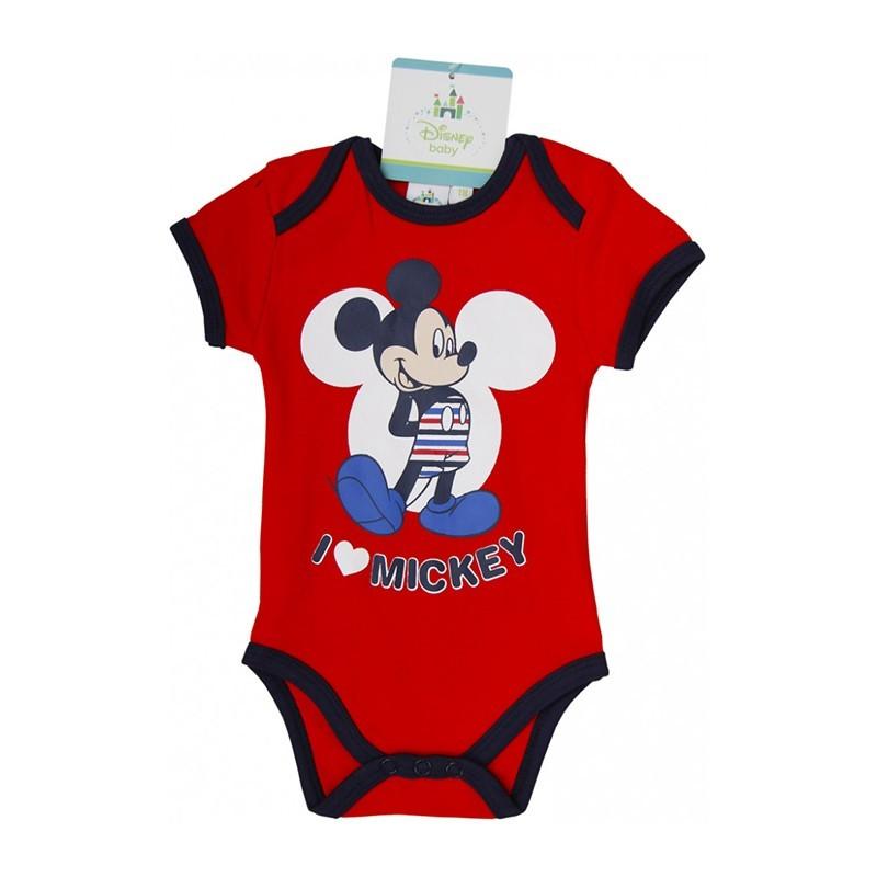 A Disney Mickey egér figurájával díszített pamut rövid ujjú body. Kellemes  viselet fiúk számára a nagy melegben. A body puha pamut anyagból készült. c589a916e8